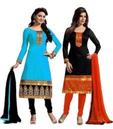 Buy Multicolor embroidered chanderi silk salwar with dupatta salwar-combo online