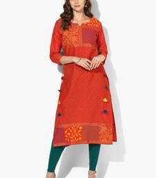 Buy Zoeyams womens red cotton block prints long straight kurti long-kurtis online