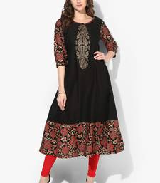 Buy Zoeyams womens black cotton block prints long anarkali kurti long-kurtis online