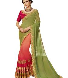 Buy Green embroidered silk blend saree with blouse silk-saree online
