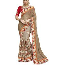 Buy Multicolor embroidered nylon party wear saree with blouse bridal-saree online
