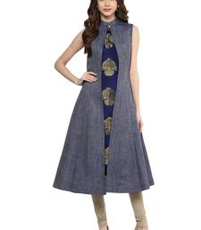 Buy blue woven silk stitched kurti diwali-kurtis online