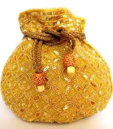 Buy Beaded Drawstring Potli/Batwa- Golden 2 fashion-deal online