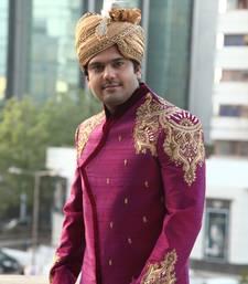 Buy purple raw silk embroidered sherwani men-festive-wear online