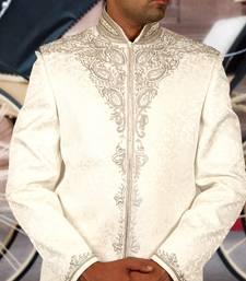 Buy white ghiecha tanchhoi embroidered sherwani men-festive-wear online