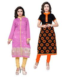 Buy Multicolor embroidered chanderi ethnic-kurtis combo-kurtis online
