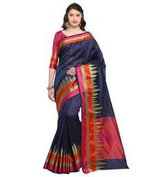 Buy navy blue woven silk saree with blouse silk-saree online