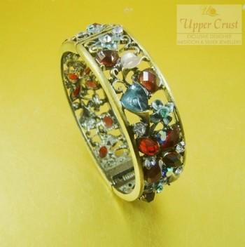 Rhinestomes Oxidized Openable Bangle bracelet