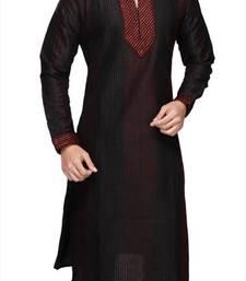 Buy Black Silk Zari Zardosi Kurta Pajama kurta-pajama online