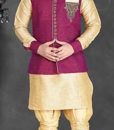 Buy Gold Silk Zari Zardosi Kurta Pajama with Nehru Jacket nehru-jacket online