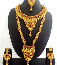 Buy Ruby Copper Long Short Laxmi Temple Necklace Jewelry Haaram Set for Wedding Festival - LCLSN02_RB bridal-set online