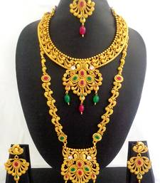 Buy Ruby Green Copper Long Short Necklace Jewelry Haaram Set for Wedding Festival - LCLSN03_RG bridal-set online