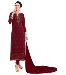 Buy Maroon embroidered georgette salwar with dupatta cotton-silk-suit online