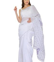 Buy White embroidered georgette saree with blouse chikankari-saris online
