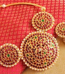 Buy Beautiful handmade kemp temple necklace with jhumkka -dj15459 necklace-set online