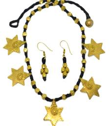 Buy GiftPiper Dhokra Necklace Set with Star Tassel Pendants necklace-set online