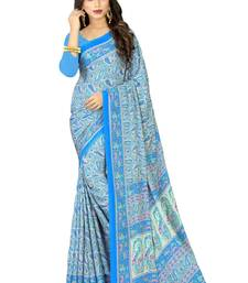 Buy Blue crepe printed saree with blouse crepe-saree online