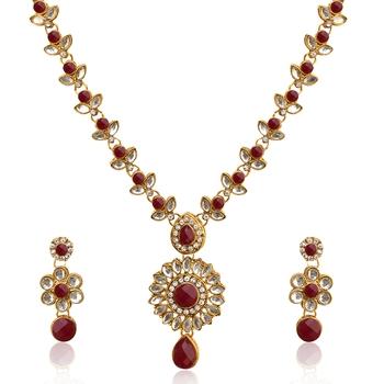Maroon polki necklace-sets
