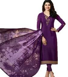 Buy Purple embroidered crepe salwar crepe-salwar-suit online