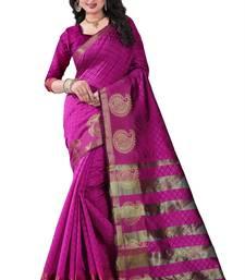 Buy Pink block print linen saree with blouse linen-saree online