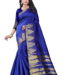 Buy Blue block print linen saree with blouse linen-saree online