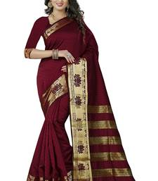 Buy Maroon block print linen saree with blouse linen-saree online