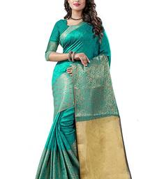 Buy Beige block print linen saree with blouse linen-saree online
