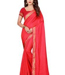 Buy Pink plain satin saree with blouse satin-saree online
