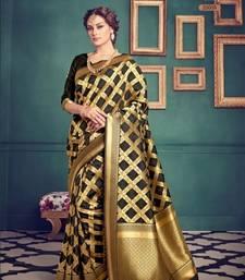Buy Black woven pure jacquard saree with blouse jacqueline-fernandez-saree online