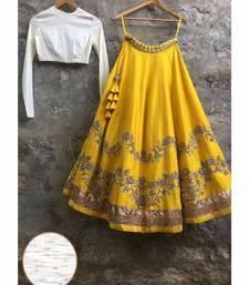 Buy Yellow Embroidered silk stitched lehenga lehenga-choli online