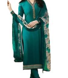 Buy Green embroidered crepe salwar festive-salwar-suit online