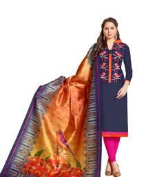Buy Blue embroidered chanderi salwar chanderi-salwar-kameez online