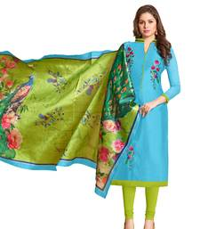 Buy Sky-blue embroidered chanderi salwar chanderi-salwar-kameez online