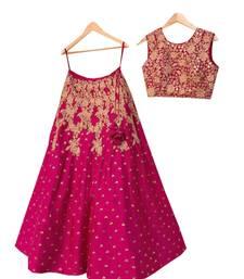 Buy Pink embroidered silk semi stitched lehenga lehenga-choli online