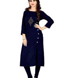 Buy Blue rayon stitched long-kurtis long-kurtis online