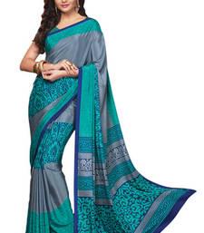 Buy Grey Printed crepe Saree With Blouse crepe-saree online
