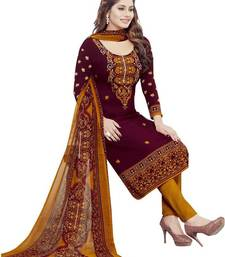 Buy Maroon printed crepe unstitched salwar with dupatta dress-material online