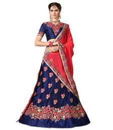 Buy Blue embroidered net semi stitched lehenga ghagra-choli online