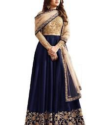 Buy Blue embroidered silk And Net semi-stitched anarkali dress with dupatta anarkali-salwar-kameez online