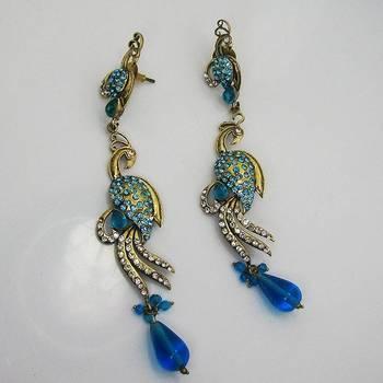 Victorian Slim Peacock Earring Ocean Blues