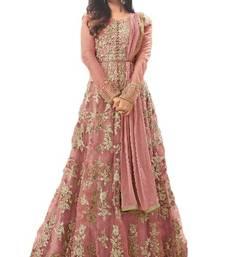 Buy Salmon thread embroidery net salwar anarkali-salwar-kameez online