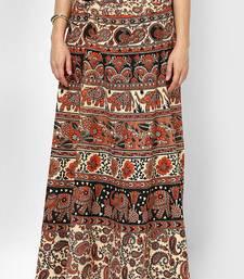 Buy Beige Jaipuri Printed Cotton Wrap Skirt skirt online