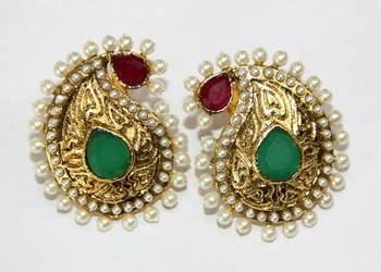 ANTIQUE GOLD PLATED RED GREEN N WHITE PEARLS TOPS