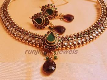 elegant pearl polki necklace green