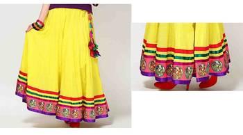 Neon sunny yellow cotton long skirt