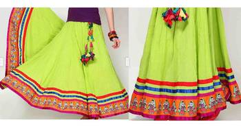 Parrot green cotton long skirt