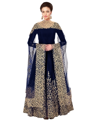 Blue embroidered fancy fabric salwar