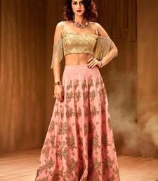 Buy Khwaab Pink Net and Santoon Embroidered Stitched lehenga choli readymade-lehenga-cholis online