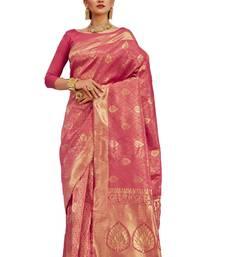 Buy Pink woven banarasi saree with blouse wedding-saree online