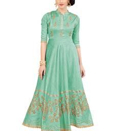 Buy Green embroidered silk ethnic-kurtis heavy-work-kurtis online